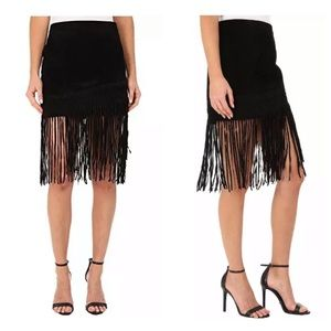 Blank NYC Black Suede Fringe Skirt Seal the Deal